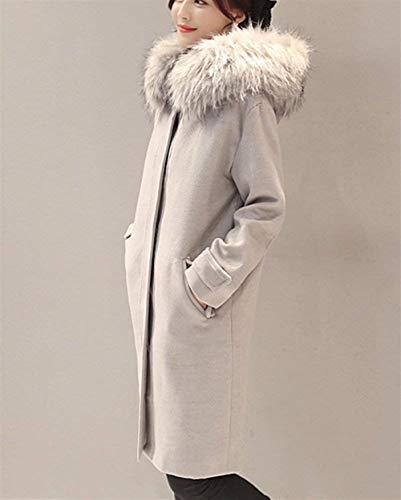 Grau Grau Baggy Colori Donna Transizione Cappuccio Pulsante Alta Laterali di di di Vintage Pile Tasche di Lana Invernali Cappotto Giacca Lunga Manica Giacca con Solidi in Cappotto qualità vtpSq5nx