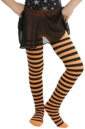 ToBeInStyle Girl's Girls Striped Tights - Black/Orange -