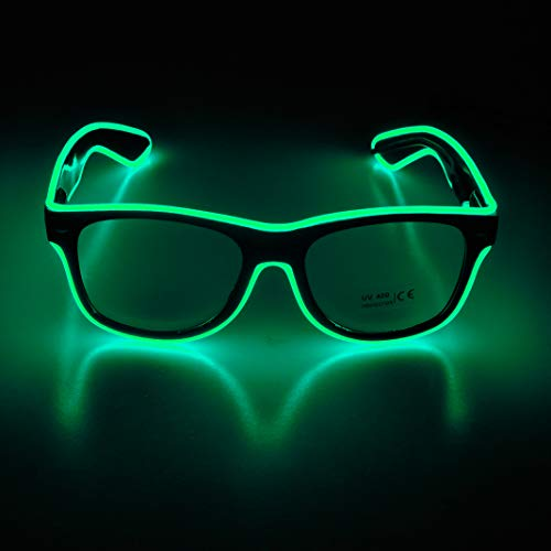 Aquat Light up Flashing Neon Rave Glasses El Wire LED Sunglasses Glow DJ Costumes For Party, Halloween, EDM RB01 (Green, Black Frame) -