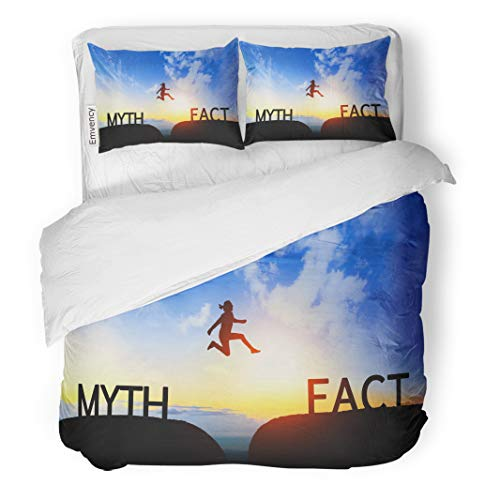 Semtomn Decor Duvet Cover Set King Size Woman Jump Through The Gap Between Myth to Fact 3 Piece Brushed Microfiber Fabric Print Bedding Set -