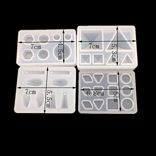 51 formas 20pcs Molde Silicona Resina Joyería Joya Collar Molduras Fabricación de DIY Colgante Collar Pendiente Bricolaj(2 moldes silicona de pulsera+9 ...