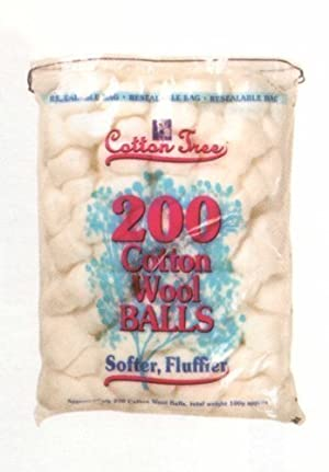 White Cotton Wool Balls Pack of 200 by Cotton Tree