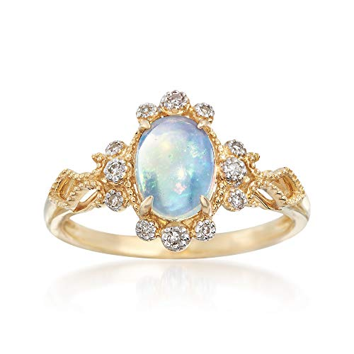 (Ross-Simons Opal and Diamond Accented Ring in 14kt Yellow Gold)