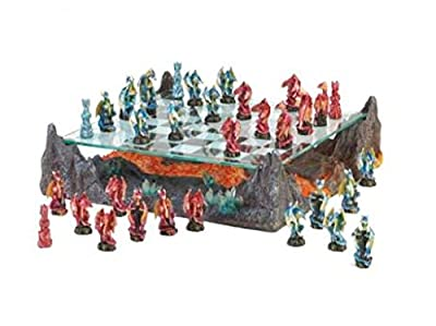 SKB Family Fire River Dragon Chess Set warriors glass game hovering crystal