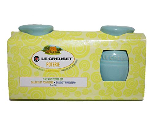 Le Creuset Stoneware Jug Pitcher 3 Ounce Salt and Pepper Shaker Set, Aqua Sky Light Blue ()