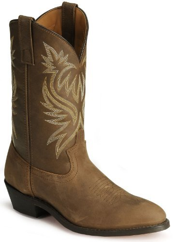 Laredo Mens Tan Leather London 12in Distressed R Toe Cowboy Boots 9 D