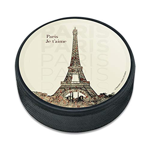 GRAPHICS & MORE Paris, Je T'Aime I Love You Eiffel Tower City Map Ice Hockey Puck