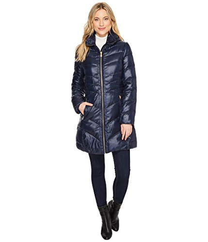 Via Spiga Women's Mix Quilted Puffer Navy Medium