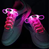 Ruanyi RGB 80cm Glow Shoelaces LED Sport Shoes Laces Glow Stick Flashing Neon Luminous Laces Pink (Color : Pink)