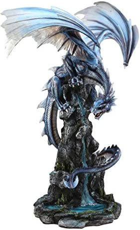 Ebros Gift Large 23 Tall Blue Zirconia Rogue Storm Dragon Hovering Over Cliff Rock Waterfall Statue As Dungeons and Dragons Decor Sculpture Fantasy Medieval Renaissance Figurine