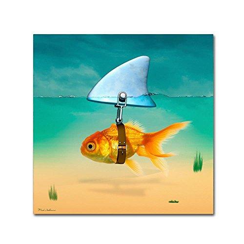 Trademark Fine Art Gold Ornate Frame Fish by Mark Ashkenazi, 35x35-Inch Canvas Wall Art