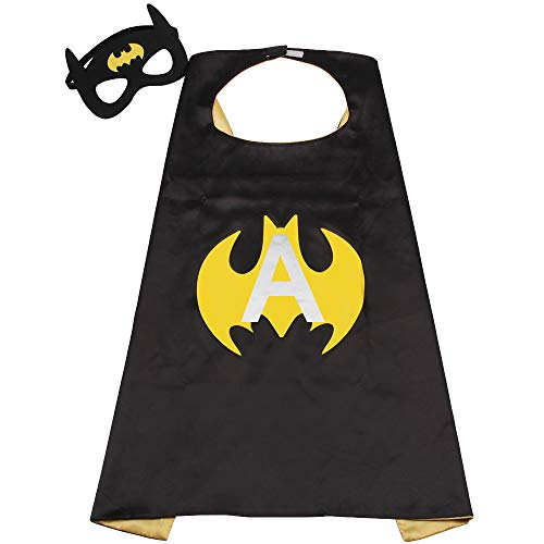 SZD Batman Costume Kids Boy Superhero Cape & Mask Batman Capes Toddler Child Gift Black -