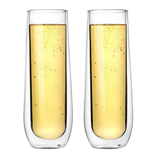 - Sweese 4614 Champagne Glasses - Double Walled Stemless Glass Flute, Perfect for Champagne, Bubbly, Mimosa, 6 oz, Set of 2