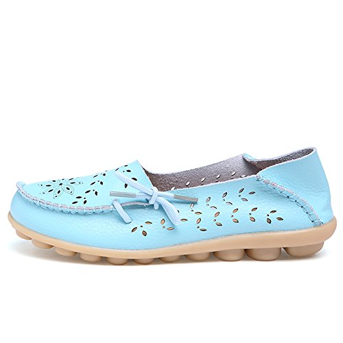 Leather Blue Loafers Lucksender Driving Hollow Carving Casual Shoes Sky Out Flat Womens SScXwBqWA