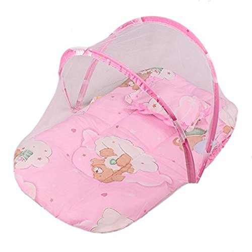 Candora 0-2 Years Baby Bed Portable Folding Travel Cot Crib Bed Canopy Mosquito Net Tent With Pillow