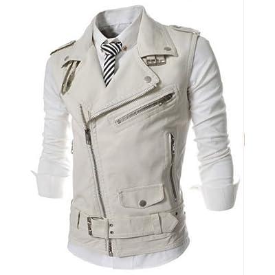 KRWHTS Mens Hipster Leather Vest Retro Motorcycle Racer Leather Jacket Vests With Gun Pocket