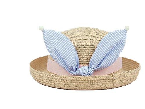 Kids Summer Cartoon Rabbit Ear Woven Straw Weaving Cap Beach Sun hat Toddler Girls Baby Bunny hat ()