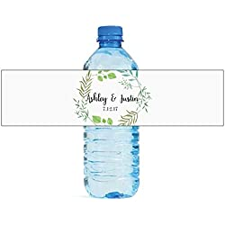 100 Summer Leaves Wedding Anniversary Water Bottle labels Engagement Party Birthday