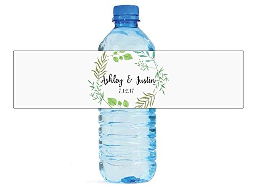 DesignThatSign 100 Summer Leaves Wedding Anniversary Water Bottle Labels Engagement Party Birthday