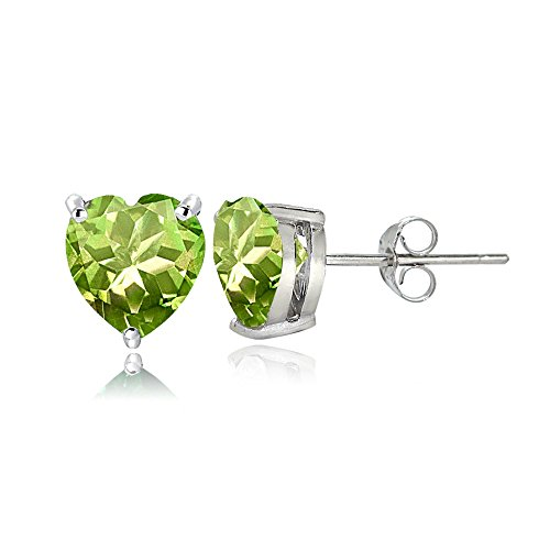 Sterling Silver Peridot 6mm Heart Stud Earrings