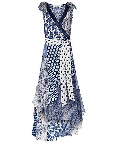 Diane von Furstenberg Women's Ava Silk High-Low Wrap Dress Blue S
