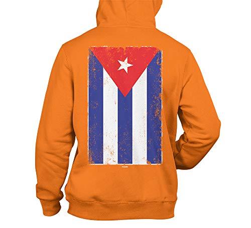 Tcombo Distressed Cuba Flag - Cuban Heritage Unisex Hoodie Sweatshirt (Orange - Back Print, X-Large)