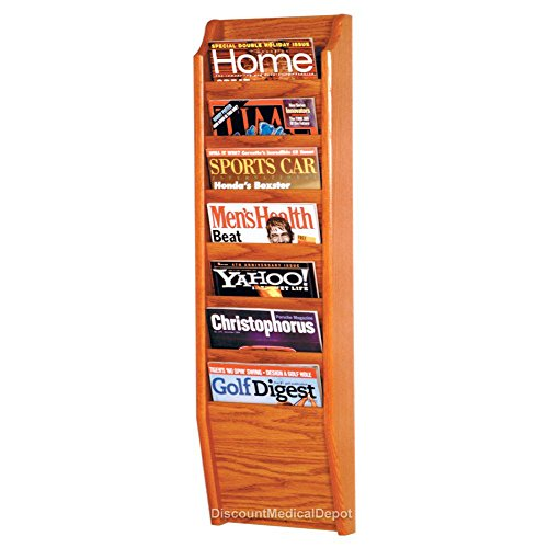 - DMD Wall Mount Magazine Rack, 7 Pocket Display, Medium Oak Wood Finish