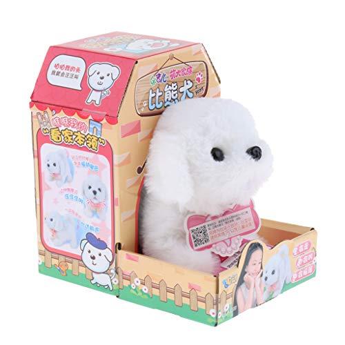 (Fityle Smart Electronic Interactive Puppy Dog Pet Soft Plush Animal Robot Kids Baby Toys Walks & Barks Wag Tail Jump - Bichon Frise)