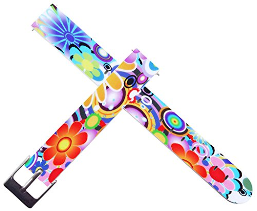 for Pebble Time Round Bands for Women - ENDIY 14mm Leather Watch Band Strap Replacement Quick Release for Pebble Time Round Wonderful Beautiful Flower Theme 14mm Ladies Watch Band