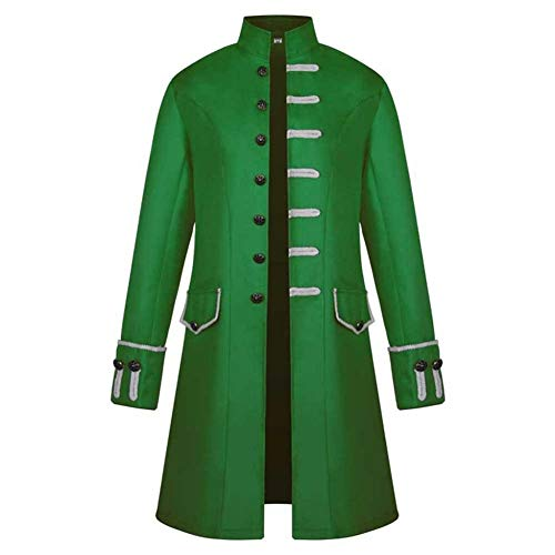 Mens Steampunk Style Robe Long Sleeve Classical High Neck Long Jacket Medieval One Breasted Coat by Lowprofile Green