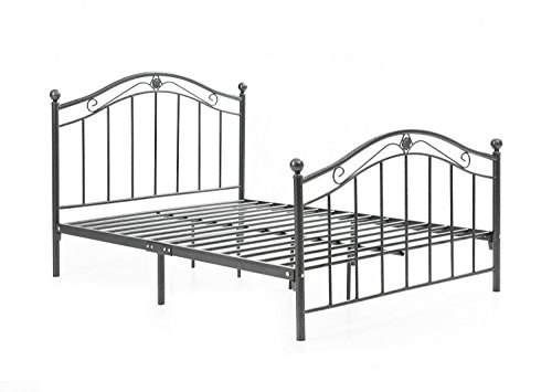 HODEDAH IMPORT Hodedah Complete Metal Bed with Headboard, High Footboard, Slats and Rails, Queen Size, Charcoal (Slatted Queen Bed)