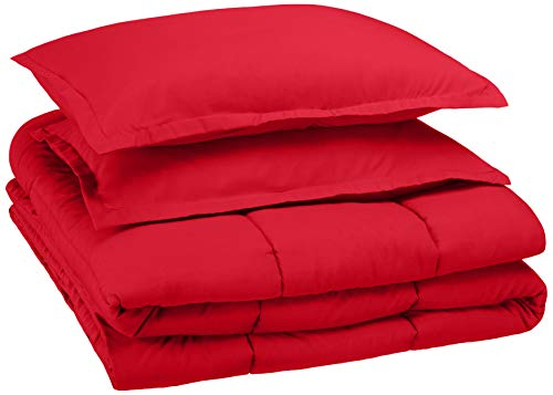 AmazonBasics Easy-Wash Microfiber Kid's Comforter and Pillow Sham Set - Full or Queen, Red