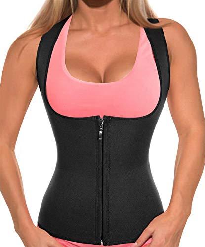 CtriLady Women Hot Sweat Neoprene Weight Loss Tank Top Shirt Waist Trainer Vest Zipper Corset Body Shaper Cincher Training Workout (Black, -