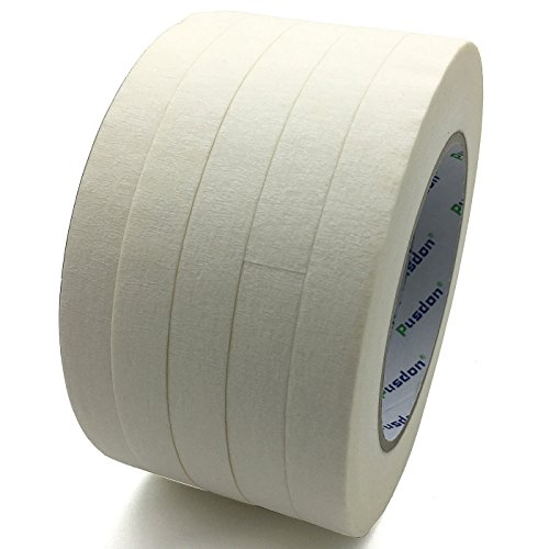 (Pusdon Masking Tape White 5 Rolls, 1 Pack, Each Roll 1/2-Inch x 60 Yards, Ideal for Label Office Arts Crafts School)