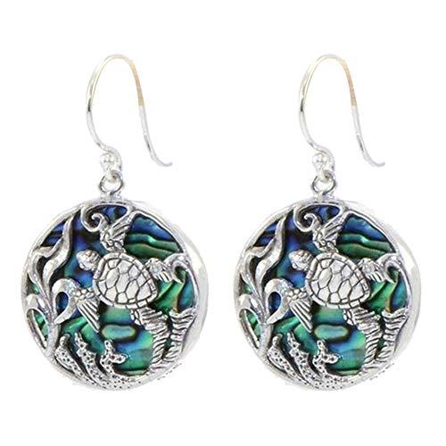 ywbtuechars Drop Earrings ❤ Creative Turtle Faux Abalone Shell Round Pendant Women Hook Earrings Jewelry - ()