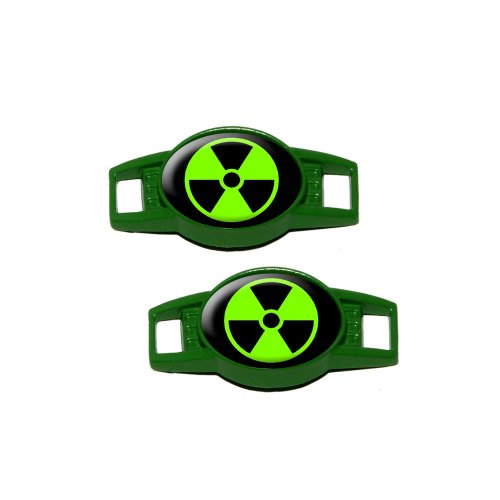 Graphics and More Radioactive Green Black - Shoe Sneaker Shoelace Charm Decoration - Set of 2 - Green