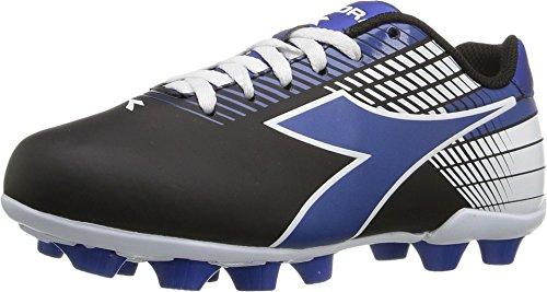 Diadora Kids' Ladro MD Jr Soccer Shoe, Black/Blue/White, 3 M US Big Kid