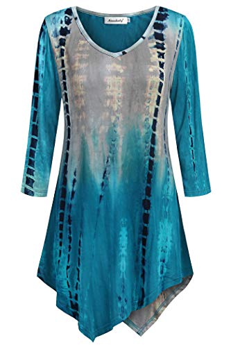 (Ninedaily Women Tunic Tops 3/4 Sleeve, Classic Retro Tye Die Blouse Random Dyeing V Neck Breathable Stretchy Shirts Fit and Flare Draped Easy Dressing, Bluegray, XL/US 16-18)