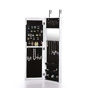 Ikayaa w6023 armario joyero colgante con espejo para for Espejo con almacenaje