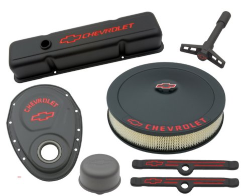 Proform 141-758 Black Crinkle Engine Dress-Up Kit with Red Chevrolet/Bowtie Logo for Small Block Chevy (Engine Dress Up Kits)