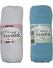 Lençol Avulso Bebe com Elástico Kit 2 peças Azul e Branco Berço Americano 70cmX130cmX12cm