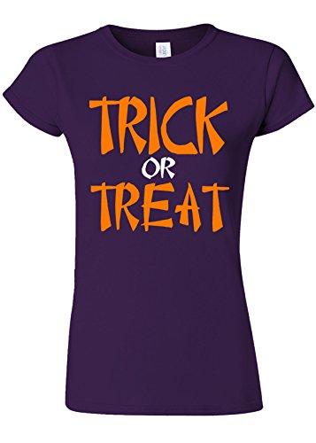 スリットスケルトン簡単にTrick Or Treat Funny Novelty Purple Women T Shirt Top-XL
