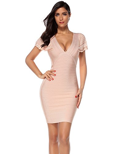 Meilun Womens Ruffled Bandage Dress V Neck Bodycon Party Dress (Beige, L)