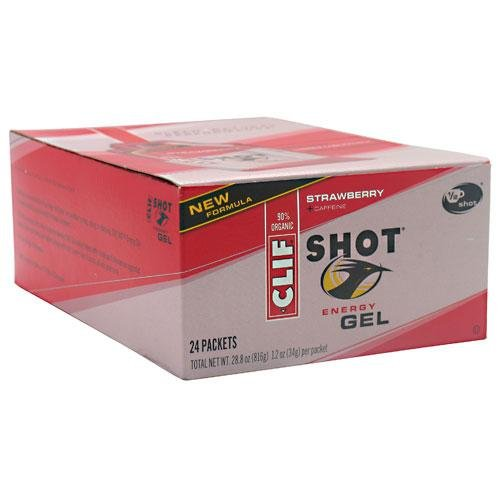Clif Shot Gel Strawberry, 24 - 1.2 oz packets, 28.8 oz.