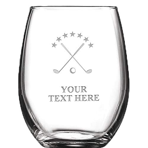 (Golf Clubs and Ball Personalized Wine Glass - 9 oz Custom Soiree Stemless Golf Course Wine Glass Gift, Engraving Included)