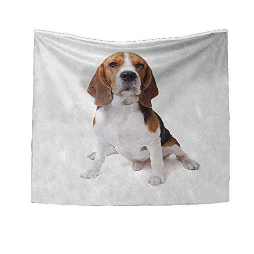 e Tapestry Table Cover Bedspread Beach Towel Beagle Dog Posing Loving Puppy Furry Friend Companion Domestic Animal Dorm Decor 47W x 47L Inch Cinnamon Black White ()