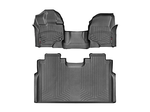 1st Row Collection - 2015-2017 Ford F-150-Weathertech Floor Liners-Full Set (Includes 1st and 2nd Row-Over the Hump)-SuperCrew-Fits with 1st Row Bench-Black