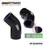 "EPMAN Black 1.5"" 1-1/2"" 38mm 45 Degree Elbow Silicone Hose Pipe Turbo Intake EP-SS45RS38"