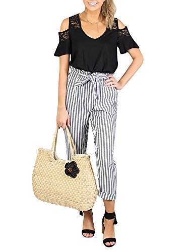 (Womens High Waisted Plaid Striped Palazzo Pants Casual Tie Waist Cropped Trouser with Pockets Grey)