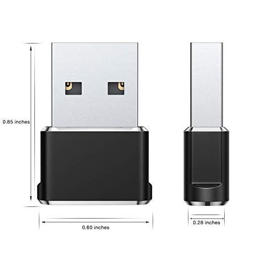 USB C Female to USB Male Adapter (Upgraded Version) (2-Pack), Basesailor Type C to USB A Adapter, Compatible with Laptops, Power Banks, Chargers, and More Devices with Standard USB A Ports (Black)